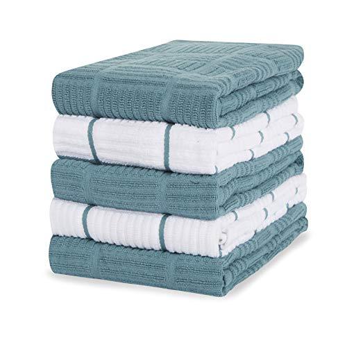 Sticky Toffee Toallas de cocina 100% algodón, 5 unidades de toallas de cocina | 40,6 x 71 cm | Blue Aqua | Paño de cocina de cristal suave absorbente