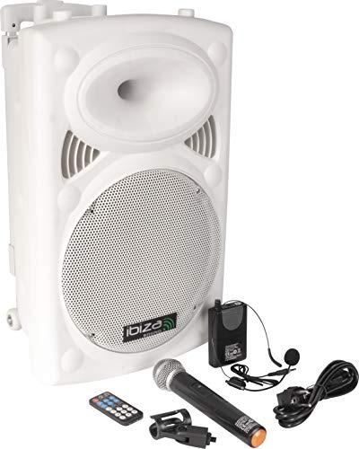 Ibiza 15-6037 Mobiele geluidsinstallatie 30 cm (12 inch) met USB-MP3, BT, REC, VOX en 2 VHF draadloze microfoons.