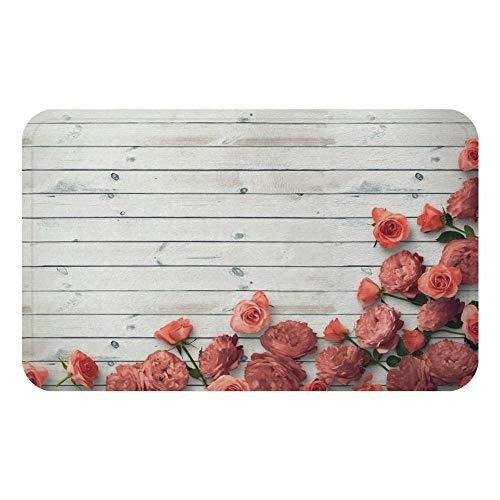 Vintage houten plank bloemen deurmat bad keuken tapijt decoratieve antislipmatten kamer-EEN_60 * 90