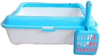 猫用トイレ本体 屋内のためのスクープの防水ペットリターキャリアが付いているスペースセーバーの猫のトイレ砂箱ボックス 適当な容量、快適に使える (色 : 青, サイズ : 39*48*13cm)
