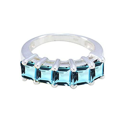 CaratYogi 925 Sterling Silver Princess Cut El Anillo de Compromiso Joyería Elegante Solitaire Declaración Anillos Azul Topaz Piedra Preciosa para Hombres y Mujeres Tamaño: 47