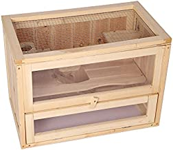 LONABR Hamster Cage Deluxe Two Layers Wooden Hut Small Animal Play House with Shelf and Ladder