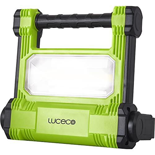 Luceco Baustrahler Wiederaufladbar 20W, Tragbare Arbeitsleuchte 1800 Lumen, Scheinwerfer IP54 Wasserfeste, Akku Lampe 4.400mAh Batterie