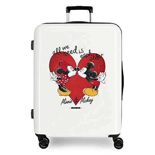 Disney Love Maleta Mediana Blanco 48x70x26 cms Rígida ABS Cierre TSA 81L 2 kgs 4 Ruedas Dobles