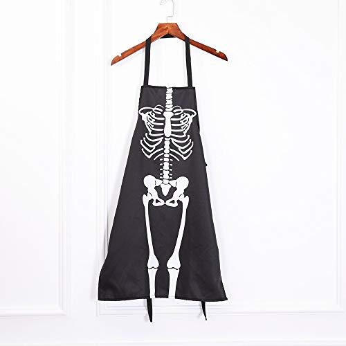 ZGPTX Cocina Cosplay Horror Chef Halloween Esqueleto Delantal Disfraz Fiesta Suministros Bar Fiesta de Baile Vestir Vestido de Fantasma Delantal