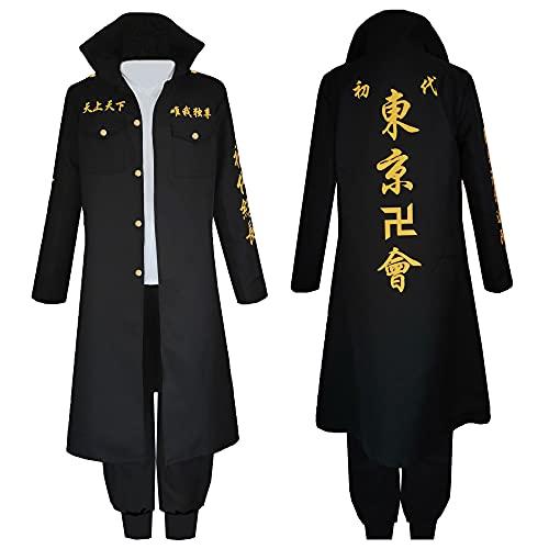 Aiqing Tokyo Revengers Cosplay Mikey Manjiro Sano Cosplay Disfraz Negro Fiesta de Halloween Uniforme Chaqueta Abrigo Camisa Pantalones Trajes