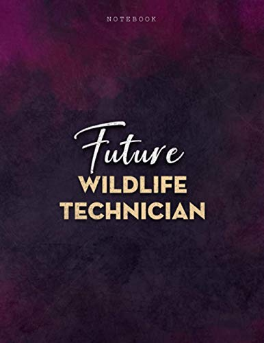 Lined Notebook Journal Future Wildlife Technician Job Title Purple Smoke Background Cover: PocketPlanner, Mom, A4, 8.5 x 11 inch