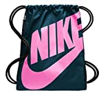 Nike Heritage, Drawstring Backpack with Zipper Pocket and Reinforced Bottom, Night Shade/Psychic Pink