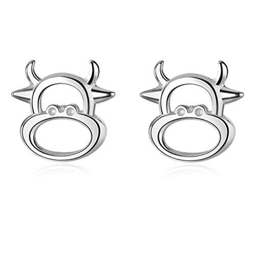 Helen de Lete S925 Sterling Silber Das Jahr des Ochsen Kleine Kuh Ohrring