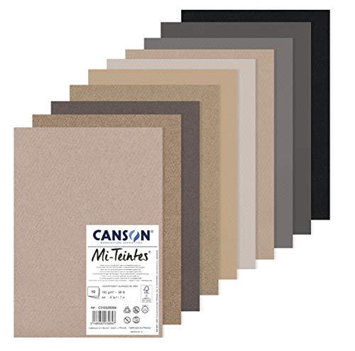 Canson Papier MI-farbig (Honigwaben), 10 Blatt A4, 160 g/m², Grau