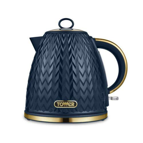 Tower Empire 3kW 1.7L Pyramid Kettle, Midnight BLUE with Brass Accents