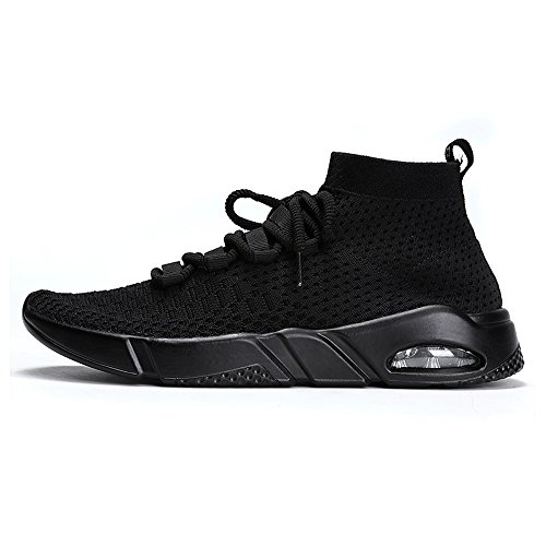 Whenshoes Mens Fashion Sneakers Lightweight Shoes for Running,Lace-up Shock Absorbing Black