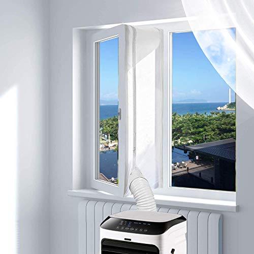 400cm Universal-Fensterabdichtung für mobile Klimageräte, Klimaanlagen, Wäschetrockner, Ablufttrockner Hot Air Stop zum Anbringen an Fenster, Dachfenster, Flügelfenster (White)