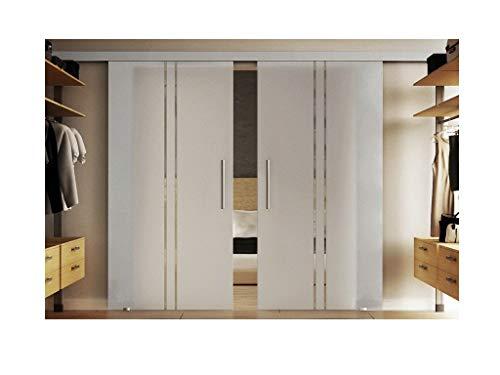 Glazen schuifdeuren binnen 2 x 102,5 x 205 cm in gehard melkglas met verticale strepen (T) Levidor® EasySlide-System compleet. Looprail en stanggrepen, schuifdeur van glas voor binnen.
