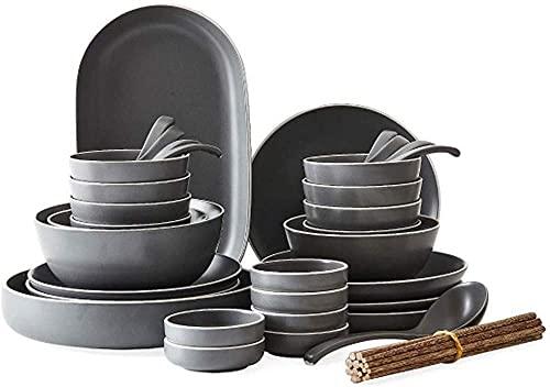 Juego de vajilla para el hogar, juegos de cuencos, juegos de vajilla de plato de 8-56 piezas con vajilla de la serie gris, cuencos de arroz / cuencos de postre / vajilla y juego de vajilla con plato,