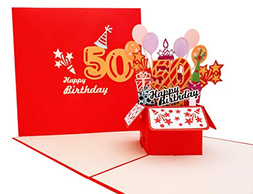 iGifts And Cards Happy 50th Red Birthday Party Box 3D Pop Up Grußkarte - Fifty Awesome, Luftballons, einzigartig, Feier, Feliz Cumpleaños, Fun