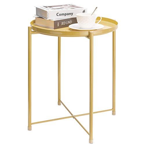 danpinera サイドテーブル 丸型 小型 おしゃれ ラウンド ローテーブル コーヒーテーブル スチール製 ソファー/寝室/リビング/庭/屋外/ベランダ 黄