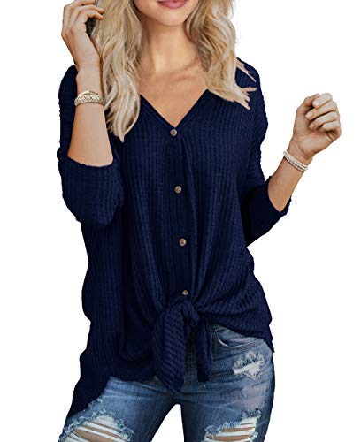 IWOLLENCE Womens Waffle Knit Tunic Blouse Tie Knot Henley Tops Bat Wing Plain Shirts Navy Blue L