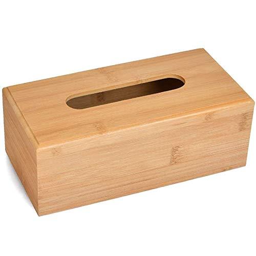 Caja de pañuelos de Madera Papel, Caja para pañuelos con Fondo, Caja de Pañuelos de Bambú, Toalla de Papel Cubierta Servilletero Dispensador para Toallitas Faciales, Madera, Marrón (23 x 12 x 8cm)