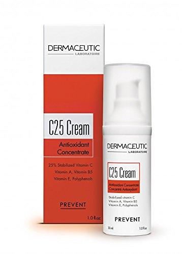 Dermaceutic C25 Cream - Crema antioxidante de día con vitamina C, vitamina E, vitamina B5, vitamina E y polifenoles - Humectante y protector facial que mejora el cutis e ilumina la piel - 30 ml