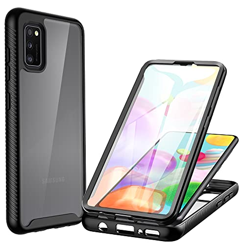 CENHUFO Funda Samsung Galaxy A41, antigolpes Transparente Fundas Protección 360 Grados Case protección Completa del Cuerpo Bumper con Protector de Pantalla, Carcasa para Samsung Galaxy A41 -Negro