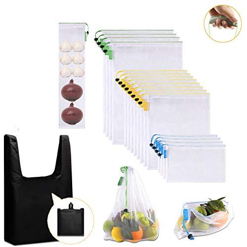 Penta Stars Bolsas Reutilizables de Malla, 18 Piezas Bolsas Compra Reutilizables Ecológicas Lavables Bolsa de Almacenamiento Transparente con Cordón para Frutas Juguetes Verduras Comestibles