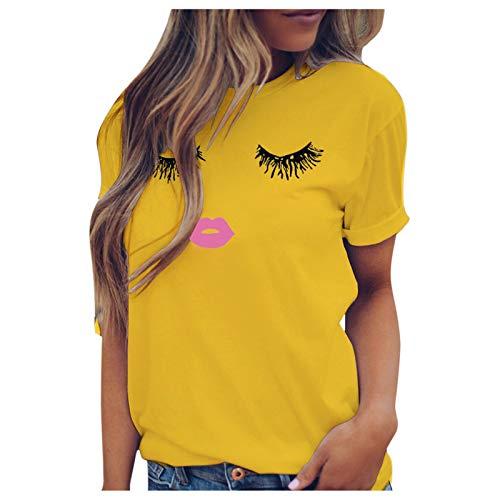 T-Shirt Damen lässig Spaß Wimpern Ausdruck drucken Kurzarm Weste (XXL,3Gelb)