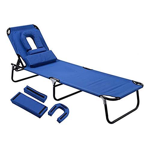 LINGZE Tumbona Plegable Silla reclinable con Almohada, jardín, Playa, reclinable al Aire Libre Ajustable, Azul