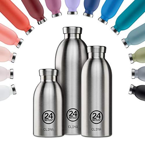 24Bottles Borraccia Termica Per L'Acqua | Bottiglia Thermos Riutilizzabile in Acciaio Inox senza BPA | 24Ore Freddo 12Ore Caldo | Clima Bottle | Design Originale Italiano (Steel, 850 ml)