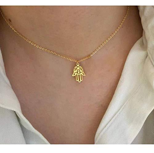 JEFEYI Arabic Soy Luna Hand Pendant Necklace Women Men Amulet Stainless Steel Gold Color Hand of Fatima Choker Islamic Jewelry