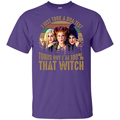 Asenie I Just Took A Dna Test Turns out I'm 100% That Witch Hocus Pocus Leisure Retro Mens Cotton Soft T Shirt