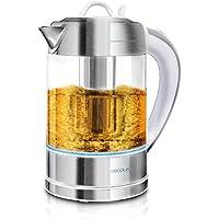Cecotec V1701630 ThermoSense 370 - Hervidor de Agua Eléctrico, 1,7 litros, Vidrio Borosilicato, Libre de BPA, Base 360º, Filtro Antical, Doble Sistema de Seguridad, 2200 W, Clear