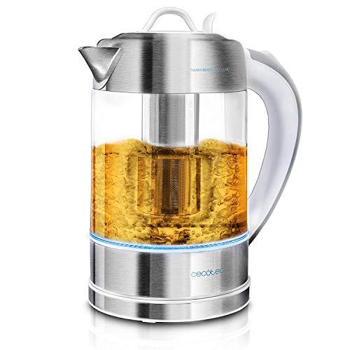 Cecotec Elektrischer Wasserkocher ThermoSense. 1,7 Liter, Borosilikatglas, Frei von BPA, Basis 360 ª, Antikalkfilter, Dppeltes Sicherheitssystem,2200 W Leistung.