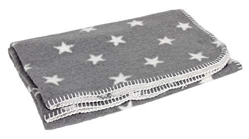 Yogilino® Babydecke 75 x 100 cm Made in Germany, grau mit weißen Sternen