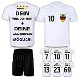 DE FANSHOP Deutschland Trikot 2021 mit Hose GRATIS Wunschname + Nummer im EM WM Weiß Typ #DE1ths - Geschenke für Kinder Erw. Jungen Baby Fußball T-Shirt Bedrucken