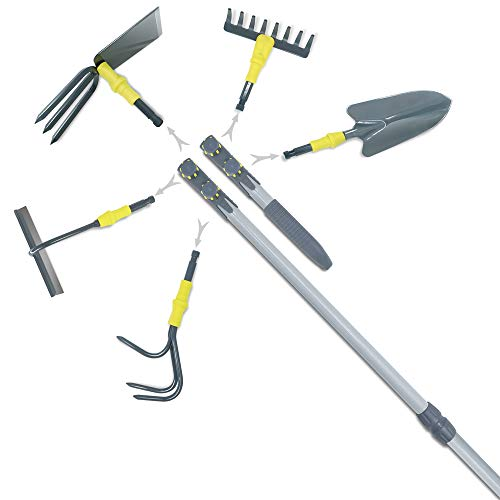 Jardineer Garden Tools Set - 47' & 12' Handles with Multi-Heads. Dual-Use Gardening Tools for Raised Beds and Gardens' Routine Work, Portable Garden Tools Set and Ideal Gardening Gifts for Women