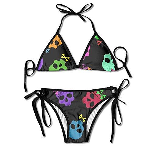 Zcfhike Funny Cartoon Skulls Women Sexy Low Waist Bandage Bikini Beachwear Swimsuit