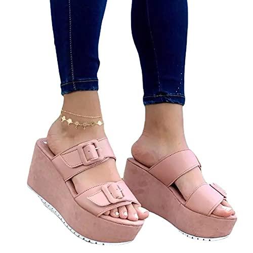 LONG-M Sandalias De Mujer Tacón Bajo Plataforma Boca De Pez Cuña Zapatos Planos De Playa,Rosado,40