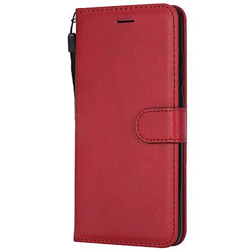 DENDICO Coque Xiaomi Redmi Note 6 Pro, PU en Cuir Coque Portefeuille Étui Housse, Design Classique TPU Coque pour Xiaomi Redmi Note 6 Pro - Rouge