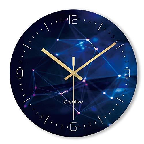 CJIANHUA Quiet Reloj de Pared Azul Profundo Temporizador Decoración for el hogar silencioso Salón Comedor Dormitorio Cafe Oficina de la Escuela de Cocina