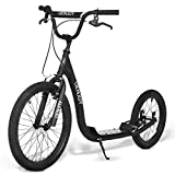 Uenjoy YouthKick Scooter 2 Wheel Scooter w/ Front and Rear Dual Brakes,20-Inch Front/16-Inch Rear Inflatable Wheels,220 LBS Capacity,Large Wheels Scooters for Adults and Teens,Black