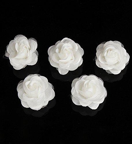 Power of Parfumes Miya® 4 pièces fait à la main Haute qualité superbe blanc rose cheveux spirales en satin et dentelle Lace, Mariée Mariage Cérémonie épingles à cheveux bijoux cheveux