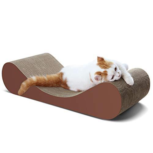 ScratchMe Cat Scratcher Post & Board, Bone Cat Scratching Lounge Bed, Durable Pad Prevents Furniture Damage