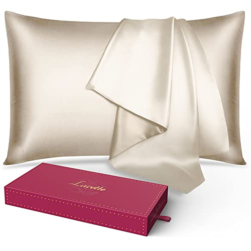 Silk Pillowcase for Hair and Skin, Lacette 25 Momme 100% 6A Soft Silk Pillow Case with Hidden Zipper, 600 Thread Count, Dual Side Silk/Microfiber, 1PC (Standard 20x26, Champagne)