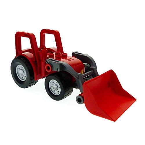 1 x Lego Duplo Traktor rot neu-dunkel grau Bulldozer Schaufel groß Bauernhof Frontlader Scheinwerfer gelb Set 5647 40648 88931c01 87967c01pb01