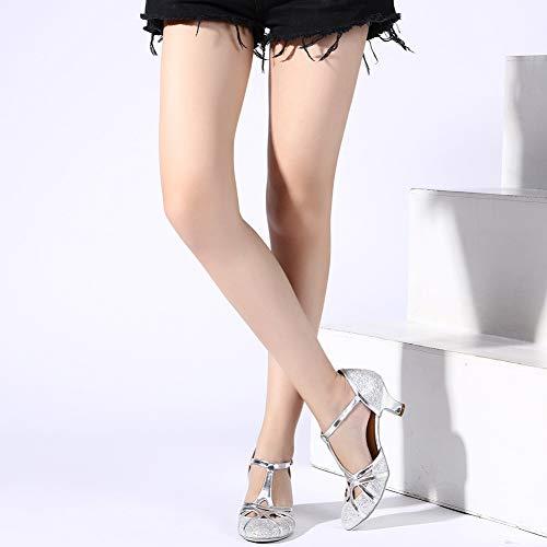 HROYL Damen Tanzschuhe/Latin Dance Schuhe Glattleder Ballsaal Modell-D5-511 Silber 40 EU - 7