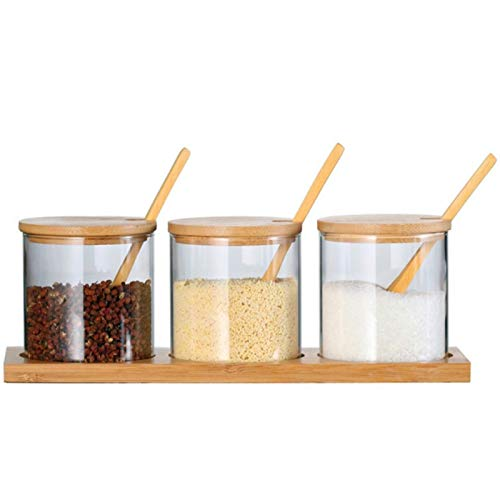 HEYB Tanque de almacenamiento sellado de tres piezas con tapa de bambú y bandeja con cuchara de almacenamiento de cocina caja de condimentos
