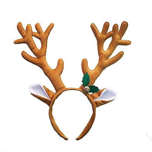 LUOEM Fascia per Capelli con Archetto di Renna di Natale con Fascia Antlers per Costumi Natalizi in Costume (caffè)