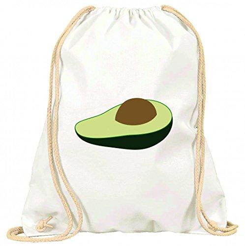 """'Turn Bolsa """"aguacate de fruta de maduro de fresco de interfaz de piezas de semillas de Nutrición de Nahr hafte de ROH de Sabroso De bio de alargado con cordón–100% algodón de bolsa Con Asas De Mochila de bolsa de deporte, Weiß"""