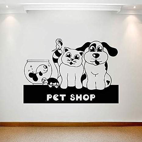 Amazon Com Pet Shop Wall Decal Cartoon Cat Dog Bird Vinyl Door Window Stickers Art Zoo Cute Interior Decoration Waterproof Wallpaper Home Kitchen